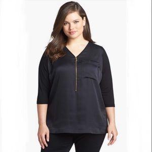 Vince Camuto Black mixed media tunic blouse Sz 3X